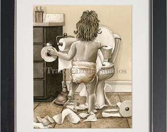 Toilet Paper Toddler- an archival watercolor print by Tracy Lizotte