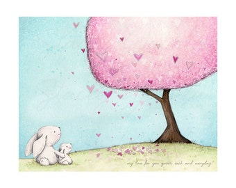 children's wall art, art print, white bunny, heart, tree,illustration, wall art, love - *Love Grows!*