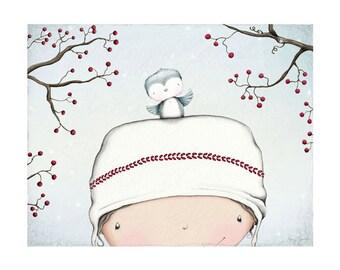 """art print - girl - bird - blue bird - berries - Christmas - winter - """"Sweet Moments"""""""