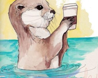 River Otter and His Latte, Otter Print, Otter Art, Nursery Art, Baby, River Otter, Coffee Print, Coffee Art, Latte, River Otter Painting,