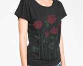 Roses T-shirt, Boxy, Relaxed fit, Dolman sleeve Women's Black graphic tee, Gift for Her
