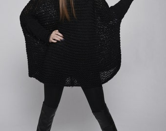 OVERSIZED Woman sweater/ Knit sweater in Black
