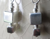 Sterling Silver Cube Earrings, square,silver boxes, Silver earrings, Silver Dangle earrings