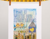 """Owls Home Collage """"Home is Where Our Story Begins"""" 8x10 Print"""