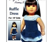 Doll Dress Knitting Pattern, for American Girl,18 inch doll, Instant Download 045