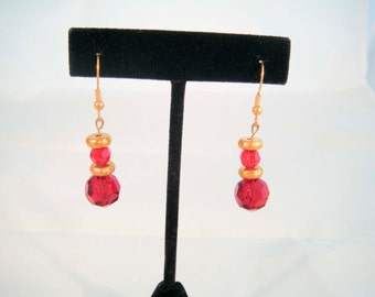 Upcycled Vintage Ruby Red Glass Bead Earrings