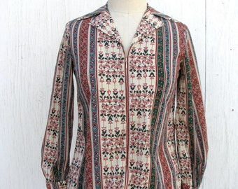Bohemian Floral Blouse / Earthy Stripes / 1970s Mama