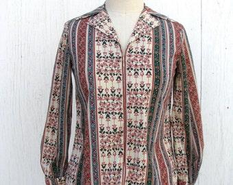 Bohemian Floral Blouse / Earthy Stripes / 1970s Mama