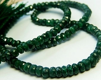 Emerald Gemstone. Natural Green Emerald Faceted Rondelle, 5mm to 5.5mm. Emerald Gemstone Bead. Your Choice,  Strand or Mini Strand (8em)