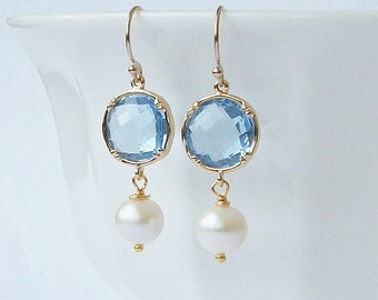 Aquamarine Blue Crystal and Pearl Earrings, Birthstone Earrings