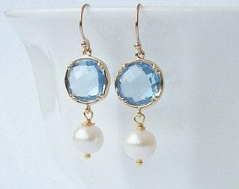 Aquamarine Blue Crystal Pearl Drop Earrings Something Blue Wedding