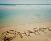 HAPPY Beach Sand Writing Fine Art Print