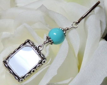 Wedding bouquet photo charm- sky blue. Something blue for the bride. Memorial photo charm. Bridal shower gift. Handmade gift for the bride