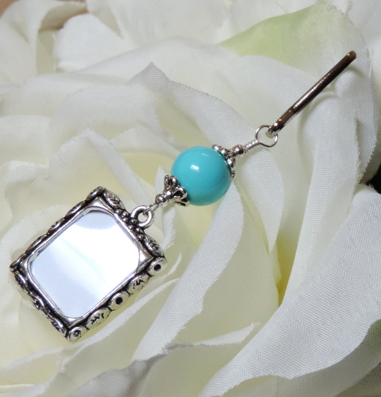 Blue Bridal Bouquet Charm : Wedding bouquet photo charm sky blue something for the
