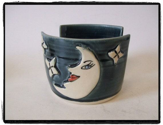 Second Sale-Napkin Holder with Moon and Stars in Deep Blue by misunrie