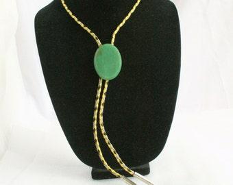 Vintage Green Aventurine Bolo Tie Agate Slide Vintage Bola Yellow Gray Black Leather