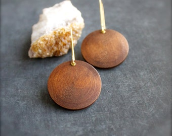 Gold Brass Riveted Wood Dangle Earrings Round Drop Bohemian Brown Modern Boho Jewellery