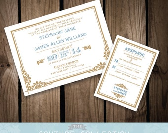 DECO INVITATION art deco wedding Chrysler set - Custom Color Vintage Gatsby Train Station Printable DIY Digital File Wedding Invitation