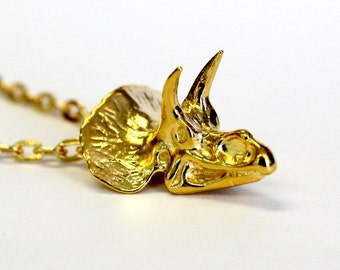 Golden Triceratops Skull Necklace in Solid bronze with 24K Gold Overlay 305