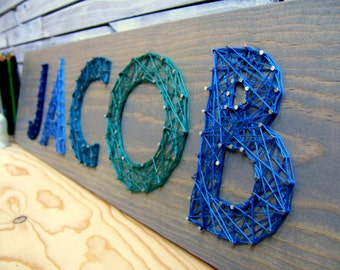Modern String Art Wooden Name Tablet - 5 letters