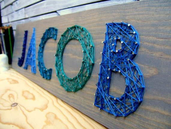 modern string art wooden name tablet 5 letters
