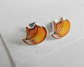 Fox earrings stud, handmade jewel