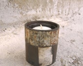 Metal Candle Holder, Industrial Decor, unisex gift, rustic lighting, upcycled candleholder