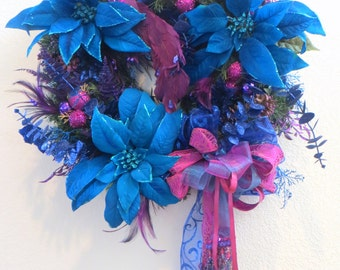 Holiday Peacock Cobalt Blue, Turquoise, Purple  Beaded Victorian Wreath
