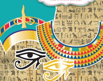 Egyptian King Tut and Queen Nefertiti PHOTO BOOTH PROPS - Printed & Shipped to your door - scarab, cartouche, ankh >> shipped to you <<