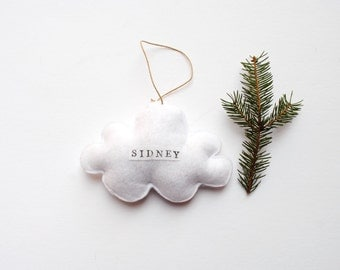 Personalized Ornament - Organic Wool Felt Cloud with Name- Christmas Tree Ornament- Baby First Christmas