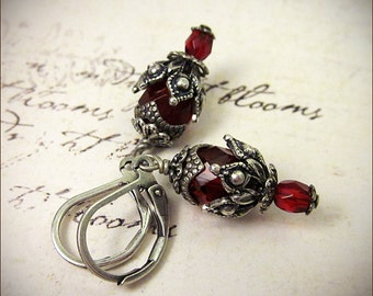 Red Earrings, Ruby, Renaissance Earrings, Renaissance Costume, Medieval Garb, Victorian Earrings, Handfasting, Ren Faire Jewelry, Rhiannon
