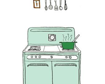 Retro kitchen stove print