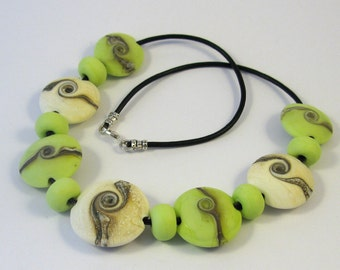 Lime Swirl Lentil Glass Bead Necklace SRA