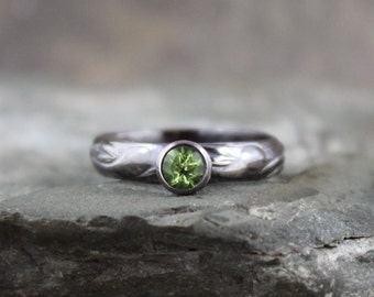 Peridot Sterling Silver Ring - Ready to Ship Size 7 - Green Gemstone Ring - August Birthstone Ring - Peridot Stacking Ring