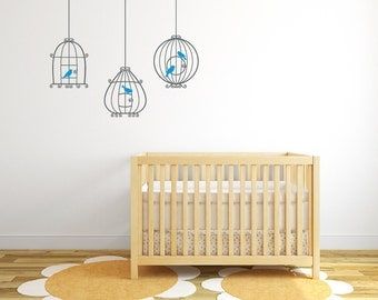Bird cage wall decal, nursery wall sticker DB315