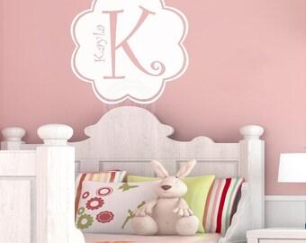Cute Custom Kids Name Monogram Flower  vinyl lettering wall decal sticker initial