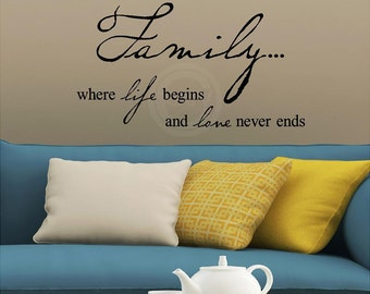 Family where life begins and love never ends vinyl lettering wall sayings decal sticker