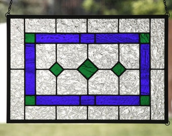AMERICAN COUNTRY DIAMONDS ~ Contemporary Stained Glass Window Panel, Cobalt Blue, Grass Green, Clear Textured Glass, Americana, Country