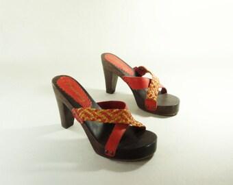 80s Platform Sandal, Size 5.5, Vintage Wood Clog, High Heel Sandal, Red Platform Sandal, Red Leather Sandal / 5.5