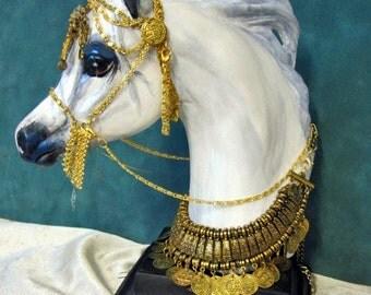 White Arabian horse Bust in native costume