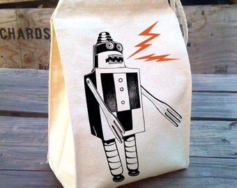 Robot Lunch Bag, Kids lunch bags, Lunch tote, Eco Friendly Lunch Sack made with Recycled Cotton Canvas, Back to school Lunch, cloth bag