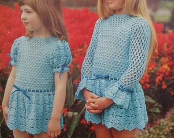 Vintage Crochet Pattern 1970s Girl's Lacy Dress 70s original pattern - Emu No. 6504 UK