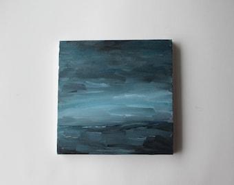 original abstract landscape painting Winter by Julie Tillman  abstract painting, blue art, modern art, minimalist art, acrylic, home decor
