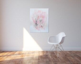 "Large abstract painting ""Simplification"" by Julie Tillman in pink, grey, black, peach, white. Minimalism. Minimalist. original art. wall art"