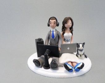 Unique Cake Toppers - Custom Handmade Seated couple with a Cat Wedding Cake Topper