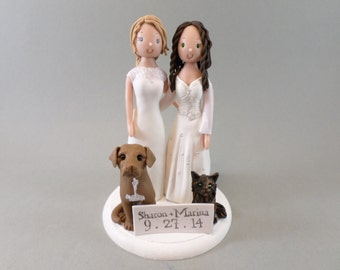 Personalized Same Sex Couple with Pets Wedding Cake Topper