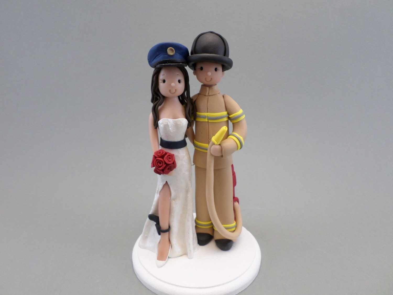 fireman cake toppers for wedding cakes firefighter amp policewoman customized wedding cake topper 14270