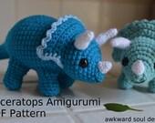 Triceratops Dinosaur Crochet Amigurumi Doll PDF Pattern