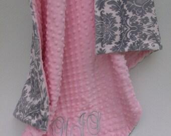 Pink and gray damask minky blanket pink minky dot