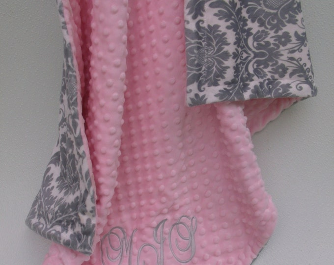 Pink and gray damask minky blanket pink minky dotCan Be Personalized